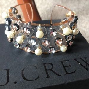 J. Crew Crystal and Pearl Studded Cuff Bracelet